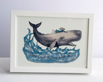 Girl and A Whale -  Art Print - A4 - From Original Illustration - Whale Rider - Illustrated Art