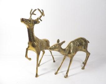 Vintage Pair of Brass Deer Reindeer - Buck and Doe Brass Deer
