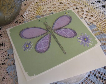 Purple Beaded Dragonfly Card