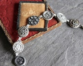 Antique Metal Picture Button Bracelet