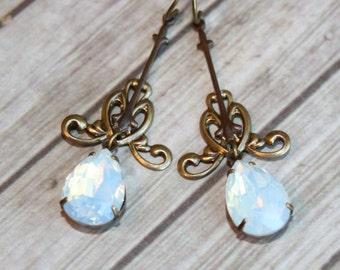 White Opal Earrings, Teardrop Swarovski Earrings, Swarovski Crystal Drop Earrings