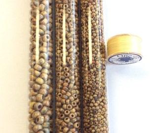 Miyuki Seed Beads Miyuki kit Opaque brown Picasso- #kit-4517
