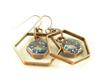 Orgone Energy Honeycomb Framed Earrings in Antique Copper with Lapis Lazuli Stone- Drop Earrings - Gemstone Earrings - Orgone Energy Jewelry