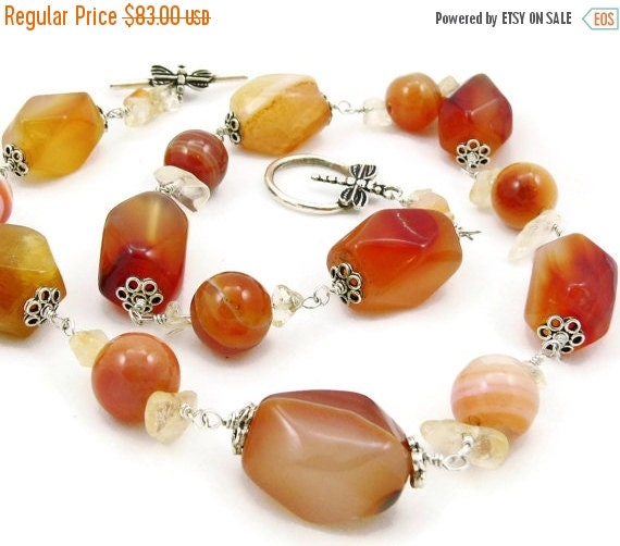 SALE Chunky Carnelian Wire Wrapped Gemstone Necklace - Tangerine Orange - Dragonfly - Sterling Silver - Artisan Jewelry