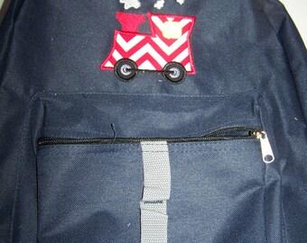 Choo Choo Train Applique Personalized Backpack