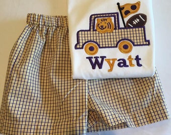 Boys gingham LSU color truck with football applique