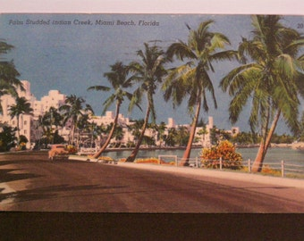 Vintage Miami Beach Postcard Indian Creek 1955