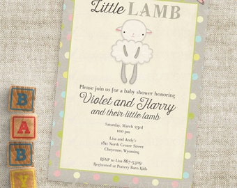 Little Lamb Baby Shower Invitations Baby Girl or Baby Boy Lamb Custom Invites with Professional Printing Option