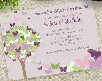 Purple Butterfly Birthday Party Invitation Personalized Custom Printable Digital Printable File with Professional Printing Option