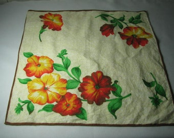Vintage cotton hanky with orange and yellow flowers