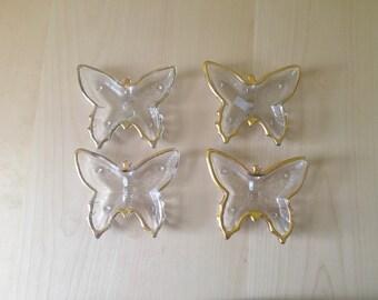 Vintage Butterfly Trinket Dishes Jeannette Glass 22K Gold Rimmed