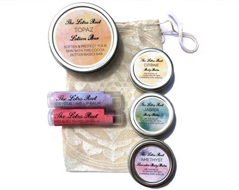 Natural skincare Sample Pack - herb infused body and lip balms