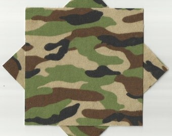 "8 Green & Brown Camouflage Pre-Cut 5"" Flannel Fabric Squares"