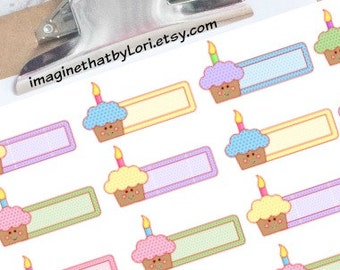 Cupcake Birthday Planner Stickers for Erin Condren Planner