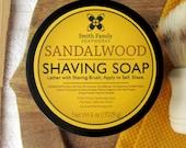 Sandalwood Shave Soap, Men's Shaving Soap, Olive Oil Shave Soap