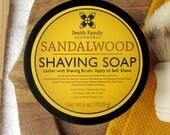 Men's Shaving Soap, Sandalwood Shave Soap, Gift for Dad, Groomsmen Gift, 6 Ounce Jar