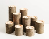 Tree Branch Candle Holders Set of 9- Rustic Wood Candle Holders, Tree Slice, Wooden Candle Holders