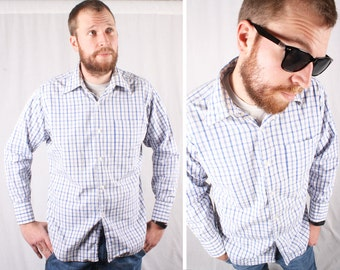 80s Blue & White Plaid Button Up Shirt / Size Large