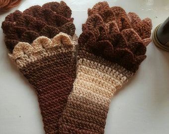 Handmade crochet gaunlet gloves wrist arm warmers multi shades dragon scale Stitch 100% wool made in wales
