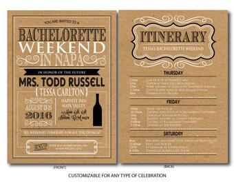 Printable Bachelorette Weekend Itinerary, Birthday weekend, Wine weekend Itinerary, Girls Weekend Itinerary, Bachelorette Party Invite, Napa