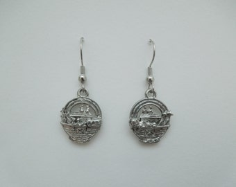 Noah's Ark Earrings, Noah's Ark Jewelry, Noah's Ark, Noah's Ark Charm, Pewter Charms