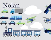 Nursery decals - Train decal - Plane decal - Vinyl wall decal - Clouds, cars, Trucks set