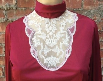 Vintage 80s Lorrie Deb White Lace and Burgundy Maxi Dress