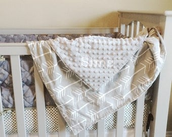 Gray Arrows - Baby Boy Minky Blanket - Stroller Toddler Blanket - woodland arrows gray white Embroidered Personalized