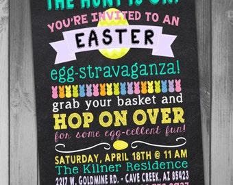 Easter Party Invitation Easter Invitation Easter Invite Easter Egg Hunt Chalkboard Invitation Printable Easter Invitation