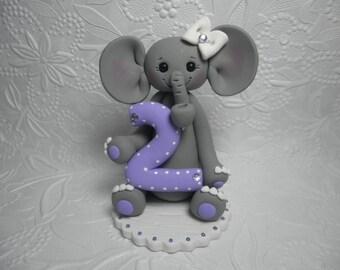 Personalized Second Girl's Birthday Elephant Cake Topper, Clay Cake Topper, Second Birthday Gift, Second Birthday Keepsake