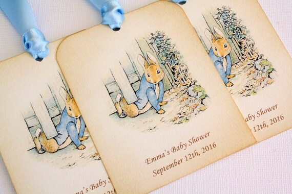 Peter Rabbit Baby Gift Sets : Personalized peter rabbit baby shower gift tags set of