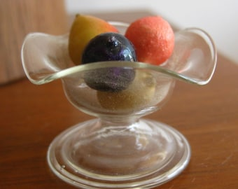 Vintage 30s 40s German Glass Miniature Dollhouse Centerpiece Fruit Compote Bowl
