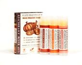 Fall Dessert Lip Balm Set - All Natural - Cinnamon Nut Rolls, Pumpkin Pie Spice, Spiced Apple Cider