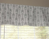 """Premier Prints Arrow Storm Grey  Valance 50"""" wide x 16"""" long Lined Or Unlined Gray  and White"""