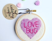 Candy Convo Hearts // Pastel Embroidery Hoop Wall Decor featuring Conversation Hearts // So Sweet for Your Love