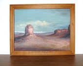 Vintage Monument Valley Western Landscape Painting Oil on Board 1950s Arizona