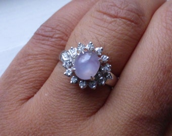 Unusual Diamond and Natural soft pink star sapphire ring, retro. 6 1/3- 6 1/2