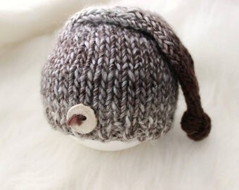 ready to ship, newborn photography prop, natural fibers lux gray brown cream knot sleep hat with stone button 0-2 weeks, baby boy prop