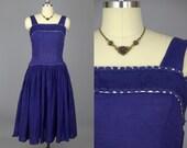 1940s Cotton Day Dress Navy Blue Full Circle Dress