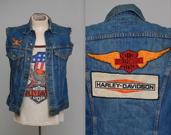 70s Harley Davidson Patch Levis Big E Indigo Denim Biker Vest