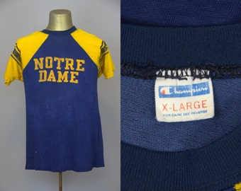 70s Notre Dame Champion Blue Bar Rayon Jersey