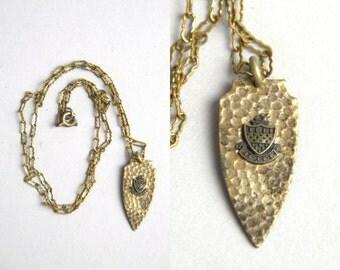 1920s Family Crest Relle / France Coat Of Arms Arrowhead Pendant Necklace
