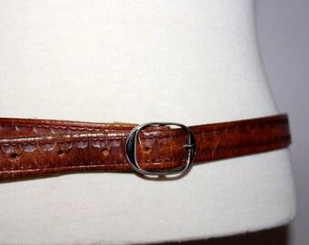 vtg 70s BROWN leather belt woodstock boho small medium s m