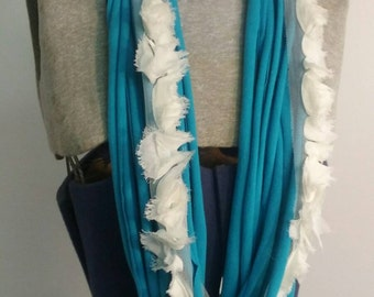Teal Upcycled T-shirt Necklace Scarf with Cream Fabric Flowers