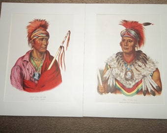 2 Vintage Intian Lithographs...American Folio of 1840...PENN PRINTS...Free Shipping
