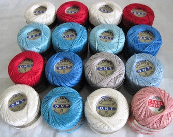 16 Vintage Clark's Pearl Cotton Spools Balls Embroidery Crochet Knitting Weaving Thread 50 Yards Each