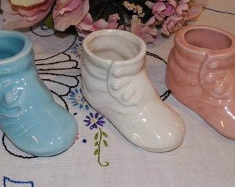 3 vintage blue white & pink baby shoe planters - ceramics - baby shower - newborn gift - booties - shoes - planter