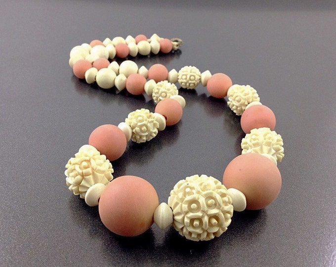 Antique Vintage Carved Galalith Bead Necklace, Early Plastic Carved Flower Necklace. French Ivory Necklace. French Beads. Plastic Coral Bead