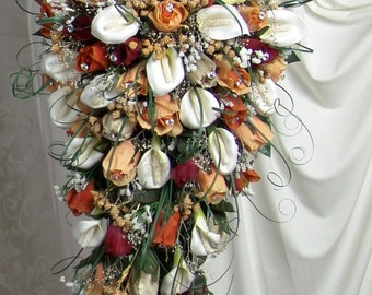 PERSIMMON TANGERINE CASCADE wedding silk flowers bridal groom bridesmaids mothers roses calla lily bouquets bouquet blossoms boutonniere