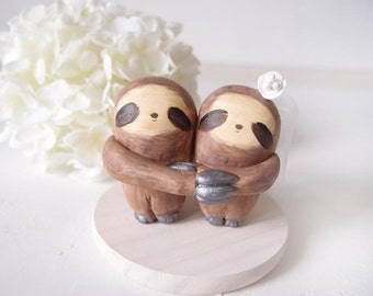 Custom Handmade Wedding Cake Toppers - Love Sloth with base